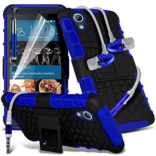 Étui pour HTC Desire 626 / HTC Desire 626 E5603, E5606, E5653 Titulaire de téléphone Case voiture universel Mont Cradle Tableau de bord et pare-brise pour iPhone yi -Tronixs Shock proof + Earphone (Blue)