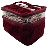 RK Brands Premium Quality Velvet 2 Partition Portable Vanity Bag Multipurpose, Makeup Vanity Box (Maroon)