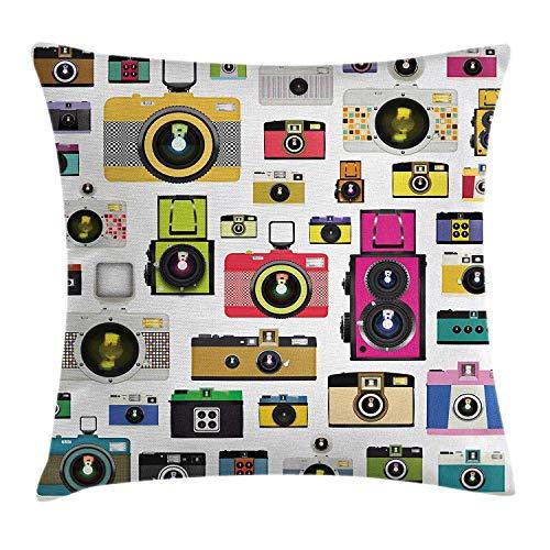 Funda de cojín Vintage Throw Pillow, Cámaras de Fotos Antiguas de época Artistic Hobby Studio Diseño gráfico temático, Funda de Almohada Decorativa con Acento Cuadrado