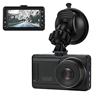 Jevogh JLY03-1 HD Dash Cam, 170 degree Wide Angle Camcorder 1080P With Night Vision, 3 Inch LCD With Parking Monitor/G Sensor/Loop Recording Car Dash Camera, Zinc Alloy + Baking Paint Artistry (Black)