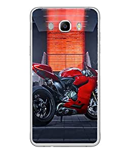 PrintVisa Designer Back Case Cover for Samsung Galaxy On8 (2016) (Speedy Red bike metalic look)