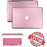 "Macbook Air 13"" Case Cover, IC ICLOVER Ultra Slim And Light Weight Rubberized Matte Hard Protective Case Cover & Keyboard Cover For Macbook Air 13.3""(A1466/A1369)-Rose Gold"