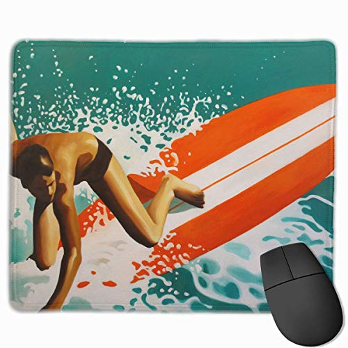 Mouse Pad Surfing Life Surfboards Hawaii Surfer Rectangle Rubber Mousepad 11.81 X 9.84 Inch Gaming Mouse Pad with Black Lock Edge
