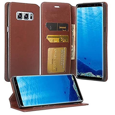 Wydan Samsung Galaxy Note 8 Case - Leather Wallet Style Case Folio Flip Foldable Kickstand Credit Card Cover - Brown