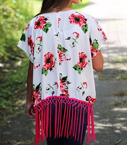 Schiere Sommerfrauen, Die Blumenbaumwollkimono Strickjacke Robe Bluse Tops Coverup Weiß