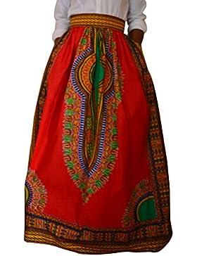 Falda Plisada Para Mujeres Casual Maxi Faldas Largas De La Playa Larga Cintura Alta Rojo 2XL