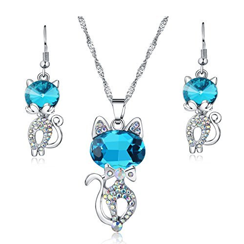 Majesto Schmuckset Halskette Anhänger Blaue Katze Kristall und Lange Ohrringe, für Damen Mutter kleines Mädchen Teenager - Geschenk Schmuck Zubehör 18 Karat ()