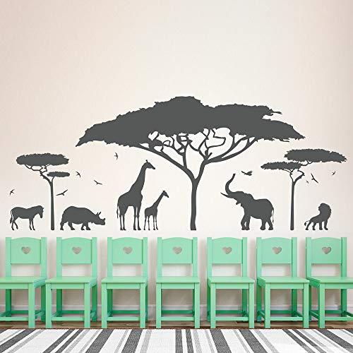 Safari Africano Tatuajes de Pared Zoo Jirafa Natural Jardín de Infantes Elefante Papel Pintado extraíble Decoración de Dormitorio