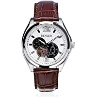 binlun da uomo Giappone Jewel meccanico movimento cronografo 24ore Formato cornice in acciaio inox con cinturino in vera pelle, diametro 45mm