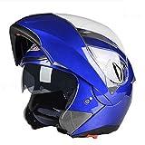 Motocicli Lenti Doppie Casco Rivelatore Fuoristrada Uomini E Donne Anti-fog Casco Invernale Multicolor Opzionale,Blue-AllCode