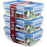 Emsa Clip&Close 508570 - Set de 3 Conservadores Herméticos de Plástico Rectangular de 0,55L , higiénico, no retiene olores ni sabores 100% libre de BPA