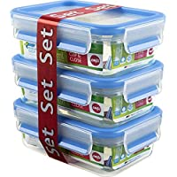 Emsa 508570 Lot de 3 boîtes alimentaires, 0.55 Litre, Transparent/bleu, Clip & Close