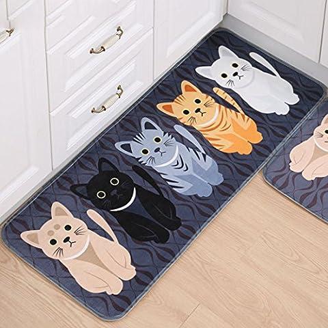 SANNIX Kicthen Area Carpet Cat Shaped Design Bath Room Rug Non-Skid Washable Home Decor Dining Room Carpet-(Gray