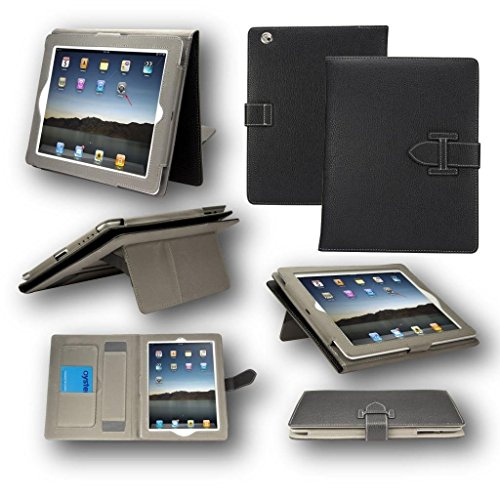 TGK Style Leather Case Cover Stand with Hand Holder Card Slots (Auto Sleep/Wake Function) for Apple iPad 2,3,4 (Black)