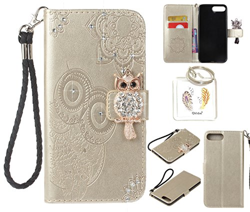 Coque PU iPhone 7 Plus / 8 Plus diamant strass mignon hibou cuir Flip Cover Bookstyle Design Housse Leather Wallet Bookstyle Étui fleurs Fleur Housse en Cuir Case à rabat pour Apple iPhone 7 Plus / 8  4