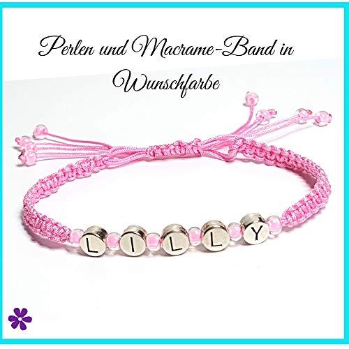 Macrame Armband personalisiert mit Namen, Namensarmband, Silber Buchstaben Perlen, Makramee Band & Glasperlen in Wunschfarbe, Freundschaftsarmband -