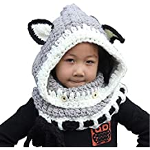 3f91e02ed4fd Style de Hat Cartoon,ANGTUO Fox Châle Chapeau Automne et Hiver Écharpe  tricot Cap bébé