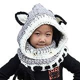 Cartoon-Art-Hut,ANGTUO Fox Schal Hut Herbst und Winter-Schal Knitting-Kappen-Baby mit einem Hut
