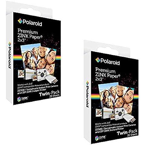 Polaroid papel fotográfico Zink Premium 2x3 pulgadas (5 x 7,5 cm) (40 hojas) - Compatible con Polaroid Snap, Z2300, Cámaras instantáneas SocialMatic e impresora instantánea