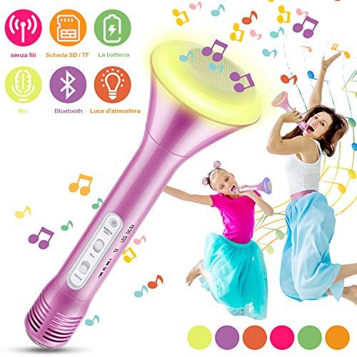 Microfono Karaoke Bluetooth Wireless, Magicfun Microfono Bambini Senza Fili Adulti con Altoparlante Microfoni Wireless Disco Light per Partito Compleanno(rosa)