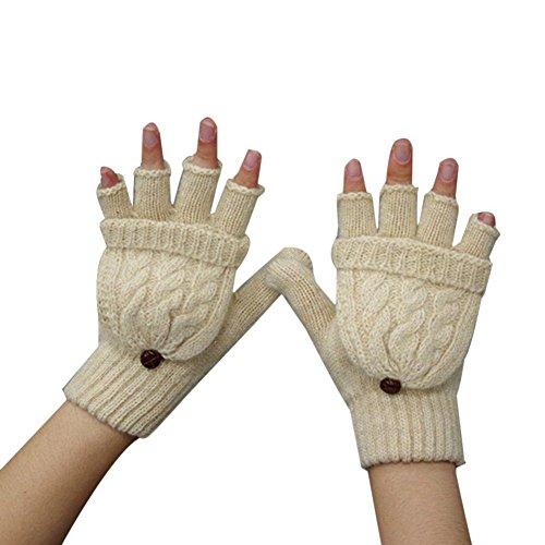 TININNA Damen Frau Winter Warme Strickt Fingerlose Handschuhe Fingerhandschuhe Mit Klappe Strickhandschuhe Beige (Leder-wolle-handschuhe)