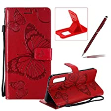 Strap Leather Case for Galaxy A7 2018,Wallet Leather Case for Galaxy A7 2018,Herzzer Premium Stylish Pretty 3D Red Butterfly Printed Magnetic Soft Rubber Stand Case with Card Slots