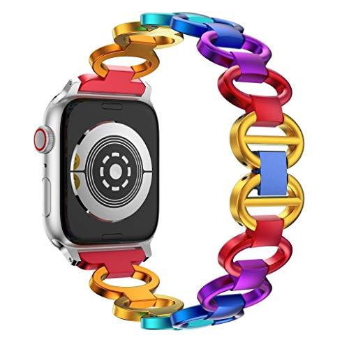 YUHUISTART Uhrenarmband Für Apple Watch Frauen Mädchen Regenbogen Metall Pull Ring Luxus Aluminiumlegierung Uhrenarmband Ersatzband 4 40mm Erstatzband Handgelenk - Serie Ring-pull