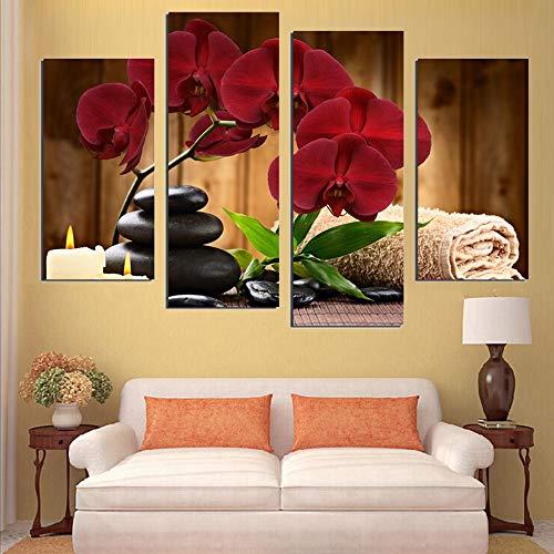 DXL-Home Decoration Heimtextilien (25 * 40cm * 2 25 * 60cm * 2 Innenrahmen Malerei) Leinwand Inkjet dekorative Malerei Vier rote rote Orchideen Wandmalerei Studie Gemälde Veranda Wandbilder -