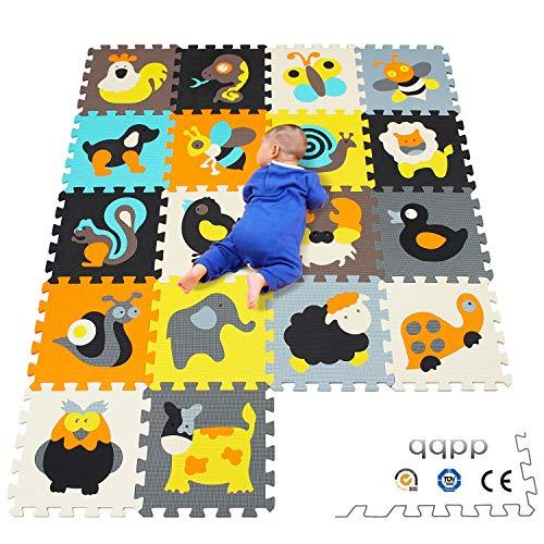 qqpp Puzzlematte ✔18 TLG. Kinderspielteppich Spielmatte Spielteppich Schaumstoffmatte Matte ✔ Kälteschutz ✔abwaschbar ✔bunt ✔phantasiefördernd QQP010011G301018