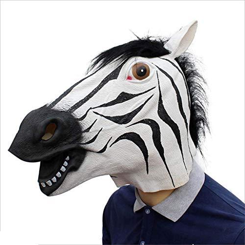 Kopf Kostüm Zebra - Voller Kopf Zebra Maske, Deluxe Neuheit Latex Tier Gruselig Halloween Cosplay Party Kostüm Gummi Masken-One Size (Zebra)