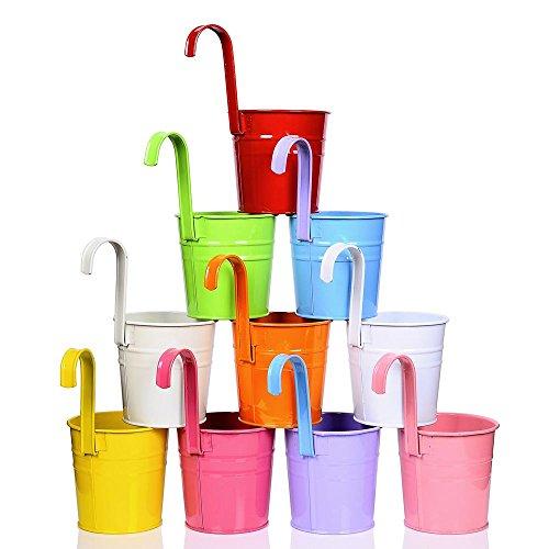 Lot de 10 pots à suspendre, Pots de fleurs (avec crochets) en différentes couleurs pour balcon, Suspensions en métal pour fenêtre, jardin, pour faire pousser des aromates