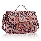 LeahWard® Ladies Girls Womens School Satchel Bags Handbags Large College Bag Butterfly Owl Horse Dotty Dot Fashion Designer Quality Faux Leather Bag CWS00226P CWX3352-S CW7277-S1 (226E-Pink)