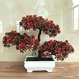 Bonsai artificiale, albero di loto/pino/ganoderma, in vaso di plastica, per interni e da tavolo, decorazione per la casa, B