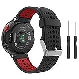 MoKo Garmin Forerunner 235 Smartwatch bracelet, Watch Band flexible en silicone avec des outils pour Forerunner 235/220/230/620/630/735 Montre de Running GPS avec Cardio au Poignet, Noir et Rouge