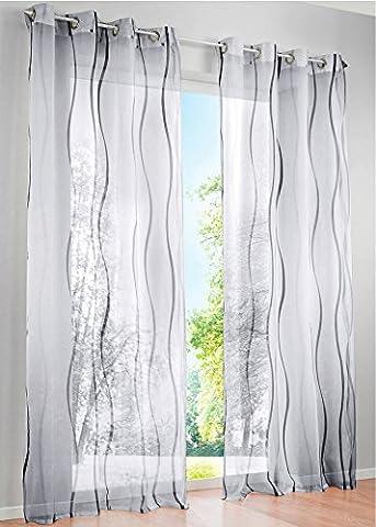 1er-Pack Gardinen mit Wellen Druck Design Vorhang Transparent Voile Vorhänge (BxH 140x145cm, grau mit