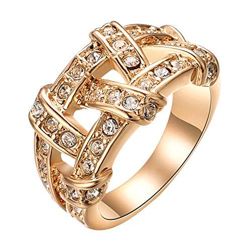 Yoursfs Vintage Irischen Style Ringe für Frauen/Einzigartige Aushölene Hochzeit Diamante-Bänder & 18K Gold vergoldete Kleid Schmuck für Damen/Frauen Valentinstag Geschenk Vergolden Verlobungsringe