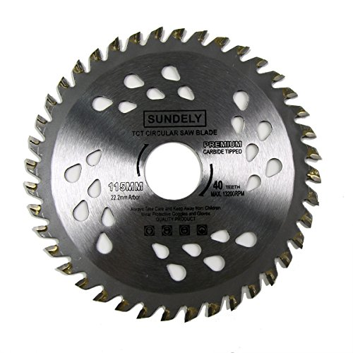 SUNDELY Carbide Tipped TCT Circular Saw Blade 115mm X 22.2mm X 40T (4.5`` X 0.87``) for Wood and Plastic