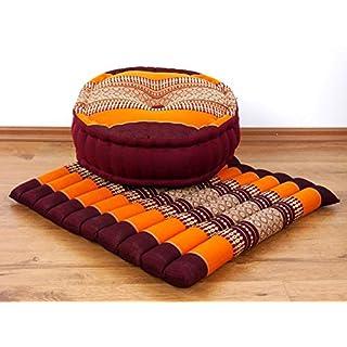 livasia Yogaset/Meditationsset der Marke Asia Wohnstudio: 1 x Zafukissen (Yogakissen) + 1 x Sitzkissen (Meditationskissen) mit Reiner Kapokfüllung, Günstiges Set (orange)