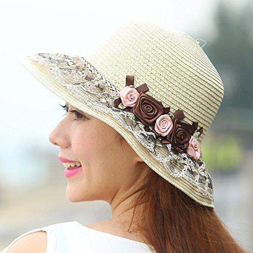 Chapeau de soleil d'été femelle été Main dentelle chapeau chapeau de soleil chapeau de paille Sunscreen de plein air chapeau de plage Pour les voyages de plage sortants ( Couleur : Beige ) Beige