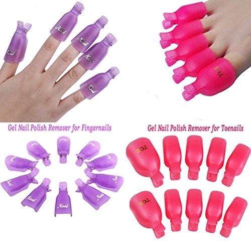 Goodup 20pezzi acrilico Toenail nail art soak off clip Cap UV gel Polish Remover Wrap nail Tool, rosa e viola