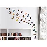DECOR Kafe Home Decor Butterfly Wall Sticker, Wall Sticker For Bedroom, Wall Art, Wall Poster (PVC Vinyl, 35 X 121 CM)