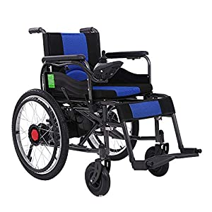RDJM Lightweight Dual Function Foldable Power Wheelchair (20A Li-Ion Battery), Drive With Electric Power Or Use As Manual Wheelchair