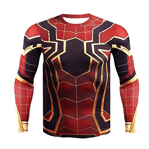 JUFENG Raglanhülse Kompression Spiderman 3D Gedruckt T Shirts 2018 Crossfit Tops Für Männer Cosplay Kostüm Kleidung,A-L