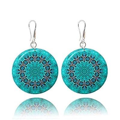 Boucles d'Oreilles Légères de Couleur Bleu Clair Mandala pour les Vacances