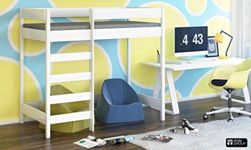 Hubi Loft Etagenbett vorne geben Sie mit Matratze Kostenloser Versand, holz, weiß, 180x90 - Loft Bett Mit Schreibtisch