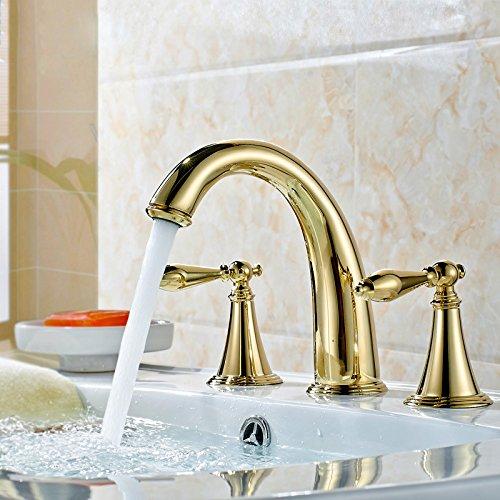 JinRou moderno bagno lavabo rubinetto Ti-PVD finitura foro tre due