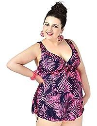 bda4b05c3c4800 EwigYou Große Größen Figurformendes Tankini Damen Zweiteiliger V Ausschnitt  Badeanzug mit Röckchen Schnelltrockendes Badekleid Bauchweg Bademode