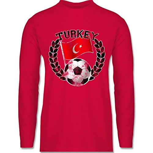 EM 2016 - Frankreich - Turkey Flagge & Fußball Vintage - Longsleeve / langärmeliges T-Shirt für Herren Rot
