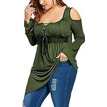 4e7fa215e Moollyfox Mujeres De Manga Larga Blusa De Hombros Descubiertos Camisetas  Asimétrico Dobladillo Tops