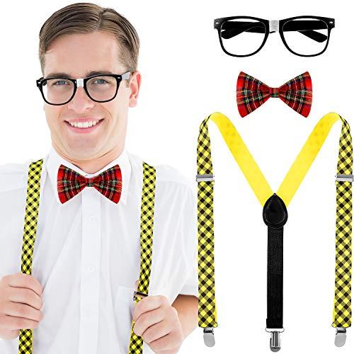 3 Stücke Schwachkorb Kostüm Set, Einschließen Schwarz Brille, Plaid Bogen Krawatte, Hosenträger für Schule Kostüm - Gute Dress Up Kostüm